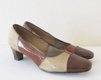 60% OFF SALE Vintage 1960's Heels / Brown Snakeskin Leather Pumps / Ladies Size 6 1/2 US, Euro 37, Uk 4 Woman's Air Step Mad Men Shoes