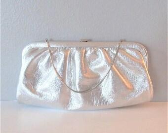 50% OFF SALE Vintage 1960's Silver Clutch Handbag / Shiny Metallic Grey Purse Wedding Bridal Clutch Evening Bag