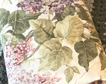 Vintage wisteria percale flat sheet lavnedar and pink green white