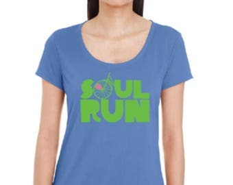 Women's Soulrun Tech T - Light Blue with Hi-Viz Green Letters and Pink Heart
