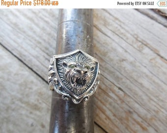 ON SALE Lion rings in sterling silver 925 with peridot stones in the eyes