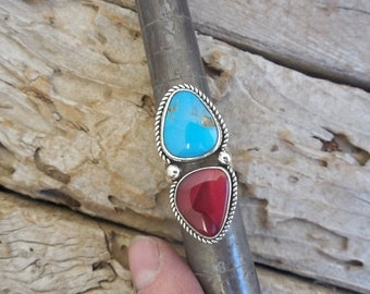 ON SALE Beautiful two stone ring handmade in sterling silver 925 with red Rosarita stone and Sleeping Beauty turquoise