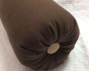 bolster  lumbar accent throw pillow in brown and burlap buttons 6x14 6x16 6x18 6x20 6x22