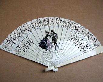 White plastic folding fan mid century hand fan celluloid fan dress accessory