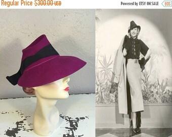 Anniversary Sale 35% Off Draped Down Over My Flashing Eyes - Vintage 1930s Deep Fuchsia Peaked Tyrolean Fedora Hat