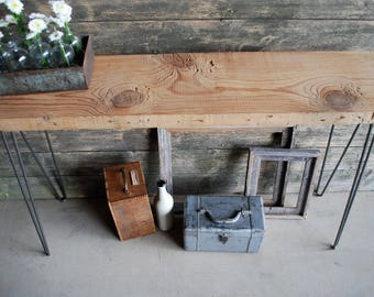 "5 ft. Reclaimed Wood Console/Sofa Table with Hairpin legs, Free & Fast Shipping (5ft x 11.5""w x 30""h, Standard 1.65"" top)"
