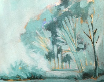 Original Abstract Painting Landscape Study in Teal Acrylic Painting Original Watercolor Painting 8x10 wall art