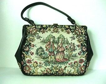 Vintage floral purse, black evening bag, black and floral purse, floral tapestry purse, vintage floral handbag, embroidered handbag