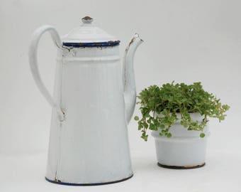 White enamelware coffee pot, Vintage enamel coffee pot, French farmhouse kitchen decor.