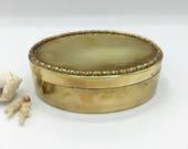 Vintage Oval Brass Box, Faux Bamboo Trim, Trinket Box, Keepsake Box, Made in India, Boho Decor