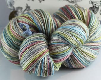 Handspun Yarn Gently Thick and Thin DK Single  Polwarth and Silk 'Frost'