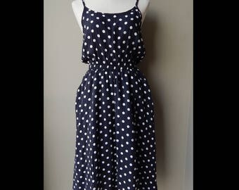 9os Black and White Polka Dots Day Dress Bust 36 Waist up to 28 Hip 38