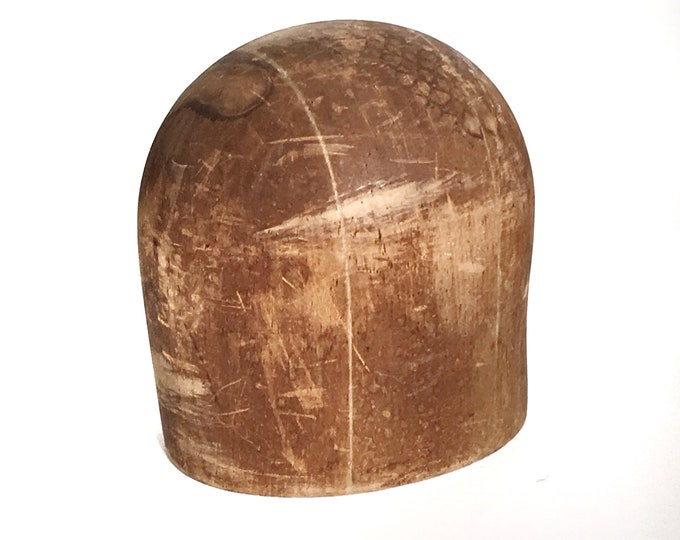 Wooden Hat Block Cloche Hat Shape Antique Milliner's Form Wood Sculpture