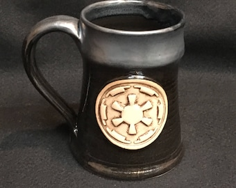 Star Wars inspired mug with Imperial symbol, 16 ounces, metallic over black  glaze