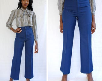Navy wide leg/flare Levi trousers with stretch long inseam 1980s 80s VINTAGE