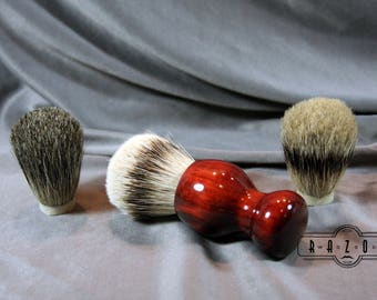 Redheart Shaving Brush Custom Badger Knot Choose your Badger Hair Brush Father's Day Gift Birthday Wet Shaving Ready2Ship