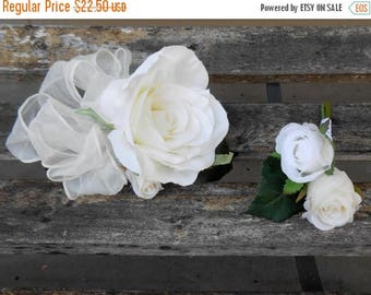 ON SALE White Silk Rose Corsage for Mothers  Anniversary Birthday or Prom or Wedding Day