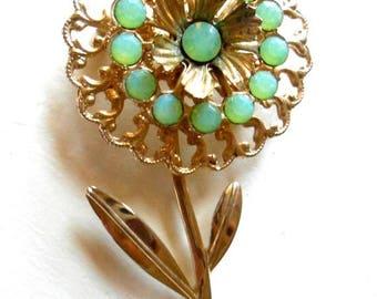 ON SALE Vintage Pale Pastel Green Rhinestone Gold Tone Flower Brooch Pin