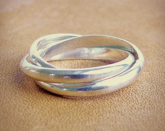 Sterling silver rolling ring Sterling silver ring three band interlocked rings infinity ring Russian wedding band