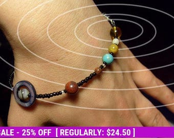 June SALE! MiniVerse - Solar System Bracelet - Gemstone Planets (8.5in)- Beadwork - Statement Bracelet - by Chain of Being