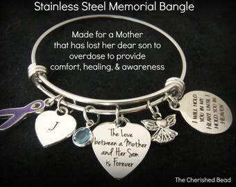 Stainless Steel Memorial Bangle for Mother's that lost their Son's to Drug Overdose - Awareness, Grief Support,Healing,Non-Denominational