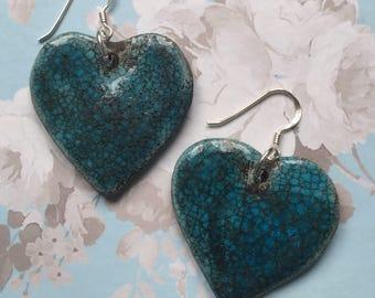 Turquoise & silver ceramic heart earrings