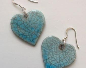 Heart earrings in blue ceramic & silver