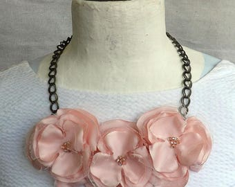 Antique Gold Chain Necklace with Flower Trio in Blush Pink Satin & Tulle