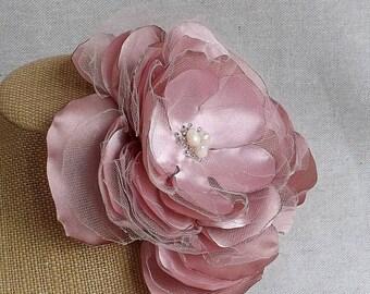 Oversized Flower Brooch in Rose Satin & Tulle