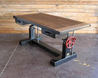 French Industrial Adjustable Height Desk - Vintage work Table