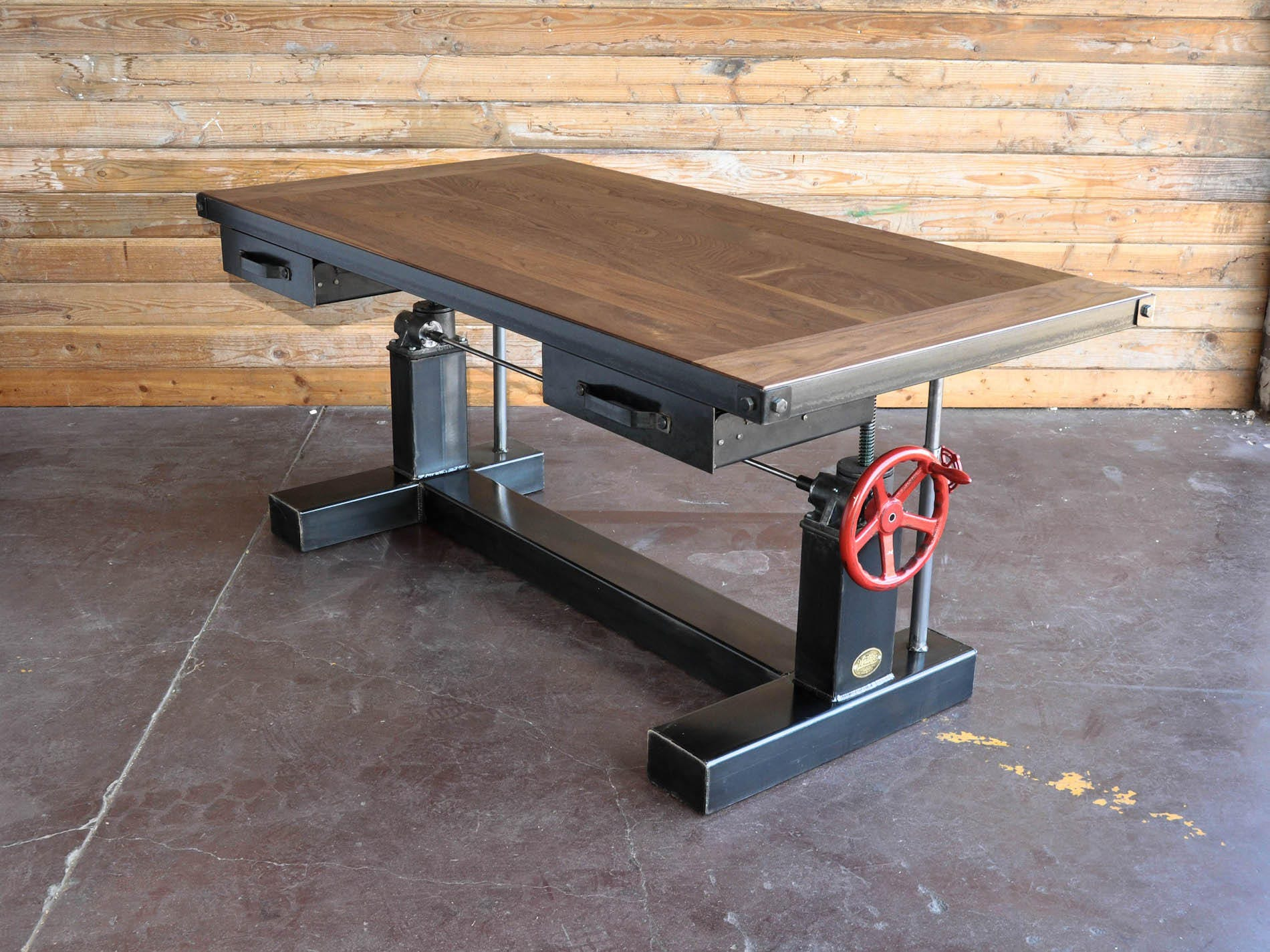 French Industrial Adjustable Height Desk Vintage work Table