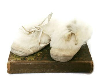 Antique Baby Shoes / Vintage Baby Slippers / Rabbit Fur Lined Baby Booties / Shoes for a Collector or Baby's Room or Nursery Display
