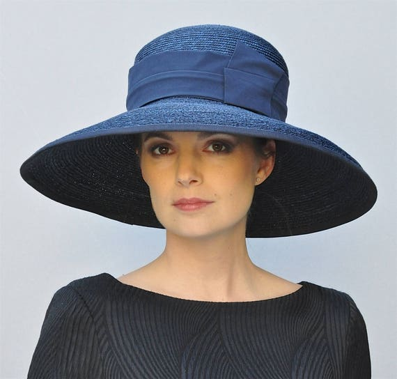bc25a65706522 Ladies Straw Wide Brim Hat With Spotty Navy Blue Band X Wide Brim Hats Blue   Wedding Hat Derby Hat Church Hat Audrey Hepburn Hat Ascot