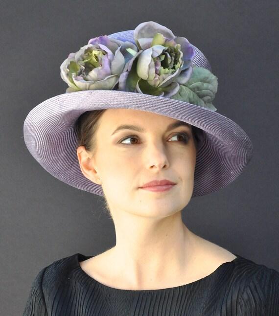 Womens Hat, Wedding Hat, Derby Hat, Purple Straw Hat, Hat with Flowers, Tea Party Hat, Garden Party Hat, Formal Hat, Dressy Hat