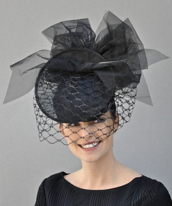 Kentucky Derby Hat, Derby Fascinator Hat, Ascot Hat Headpiece Fascinator, Black Hat, Hat with Veil