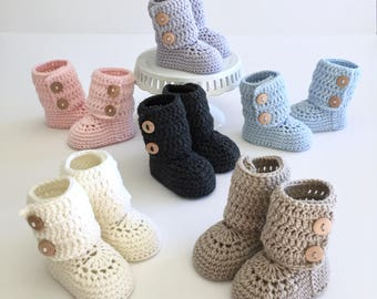 Tall Button Cuff Baby Booties in Merino Wool