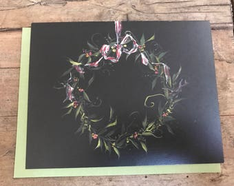 handpainted wreath notecards
