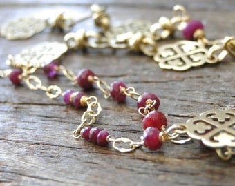 Jewelry / Decadent Genuine Ruby 14k Gold Filled and Brass Filigree Necklace / One of a Kind Ruby Necklace / Luxe Jewelry / Ruby and Gold