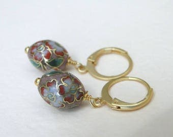 Dangle Earrings / Vintage Cloisonne Dangle Earrings / Vintage Jewelry / Vintage Cloisonne Beads / Drop Earrings / Accessories for Her