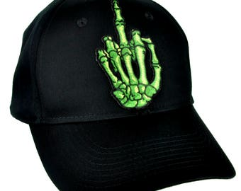 Green Skeleton Hand Middle Finger Hat Baseball Cap Skater Thrasher Clothing - YDS-EPT-BF-Cap