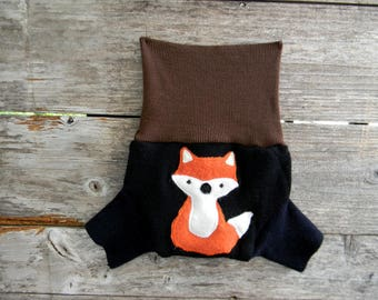 Upcycled  Merino Wool Soaker Cover Diaper Cover With Added Doubler Black/ Brown/ Navy Blue With Fox Applique SMALL 3- 6M Kidsgogreen