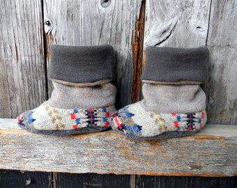 Upcycled 100% Wool Baby Booties High Top Boots Gender Neutral Baby Booties Upcycled Wool Booties 3-8 Months