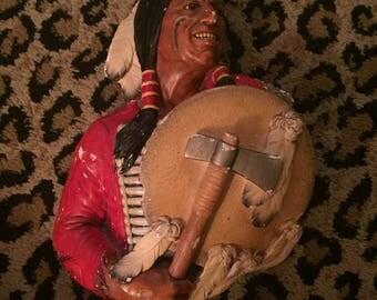 Vintage 60s Cheyenne Native American Warrior Chalk Ware Wall Decor Bossons England