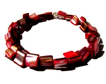 Red bangle bracelet Mother of Pearl chunk wedges summer jewelry
