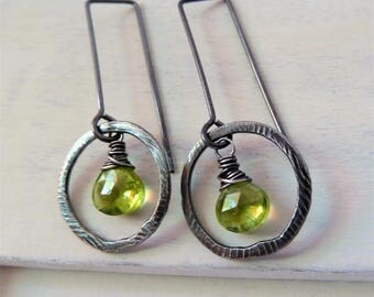 Peridot earrings. August Birthstone earrings. Wire wrapped handmade earrings. Peridot. Leo birthstone. Zodiac. Hoop. Dangle. Gift for her