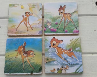 Disney Bambi Stone Coaster Set of 4 Tea Coffee Beer Coasters