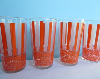 Vintage Orange Striped Frosted Glasses - Drinking Glasses/Tumblers