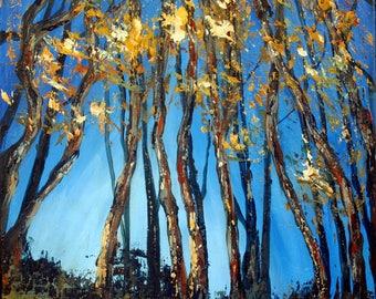 Morning Woods, Original Acrylic Painting, Coastal Art, Abstract Art, Cornwall Landscape, Cornish Woodland Art