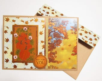 Handmade Fall Card - Thoughts of Autumn Leaves in the Breeze and watercolored pumpkins - CHOICE OF SENTIMENTS
