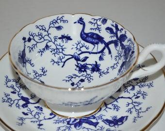 Vintage Coalport cup and saucer cobalt blue Cairo butterfly bird pattern tea party teacup